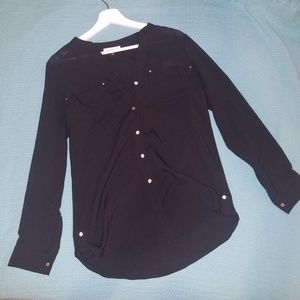 Black CK Long-sleeve blouse